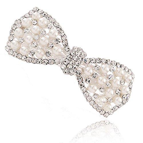 MANDI HOME Crystal Sparkling Bowknot Hair Pins Rhinestone Pearl Hair Clip Hairpin ()