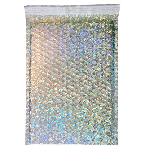 Padded Shipping Envelopes Holographic Design - 9x12 inch Bubble Poly Mailers by Inspired Mailers - Pack of 25
