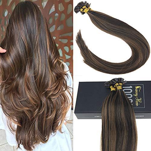 【Hot Sale】Sunny 18inch Keratin U Tip Hot Fusion Human Hair Extensions,Dark Brown with Medium Brown Highlight Remy Pre Bonded Fusion Hair Extensions 50g/pack