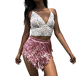 Women's Sequin Belly Dance Hip Scarf Skirt