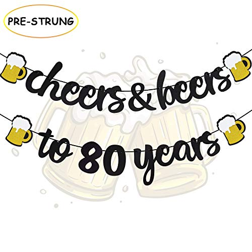 (Joymee 80th Birthday Decorations Cheers and Beers to 80 Years Banner Black Glitter Happy Birthday Wedding Anniversary Party Supplies)