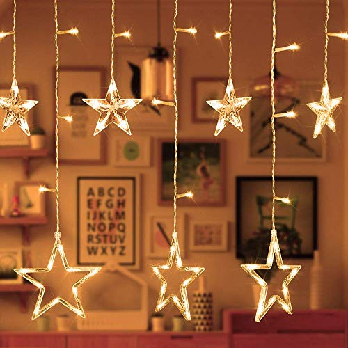 Alanda Star Curtain String Lights ,12 Star 138 LED Fairy Lights Curtain, Warm White 110V 3M(W2M(H) 8 Flashing Modes Christmas Decoration for Wedding Holiday Party Backdrop Patio Lawn and Home -