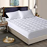 """INGALIK King Size Mattress Pad Cover-Cotton Deep Pocket Fits Up to 8""""-21"""" Fitted Mattress Topper Snow Down Alternative Cooling Mattress Cover Hypoallergnic Bed Topper"""