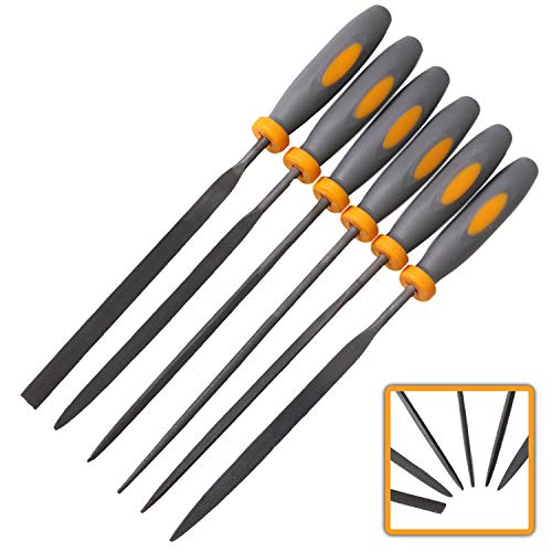 Needle File Set|6 Piece| Hardened Steel Alloy, Secure Grip| For Jewelry, Metal, Plastic, Wood & DIY Projects| Mini Set Complete w/Flat, Flat Warding, Square, Triangular, Round & Half Round Chisels - Deburring Machine
