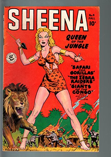 SHEENA-QUEEN OF THE JUNGLE #4-GOOD GIRL ART-FICTION HOUSE-1948-GIRL FIGH VG/FN