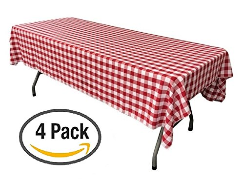 Pack of 4 Plastic Red and White Checkered Tablecloths - 4 Pack - Picnic Table (Red Checkered Plastic Tablecloth)