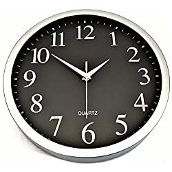Silent Black with Brushed Chrome Large Wall Clock Easy Read Numbers 12 30cm Non-ticking sweep quartz movement round executive modern style