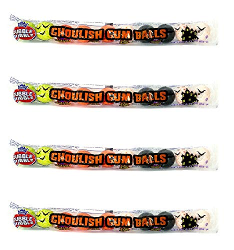 Dubble Bubble Candy Assortment Halloween Ghoulish Flavored Gum Balls, Pack of 4, 2.17 Oz tubes