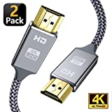 4K HDMI Cable,Capshi [6.6Ft,2Pack] High Speed 18Gbps HDMI 2.0 Cable, 4K@60Hz 30AWG Braided HDMI Cord, Gold Plated Connectors, Ethernet/Audio Return, 4K UHD 2160p, HD 1080p, 3D, Compatible TV PS3/4 2