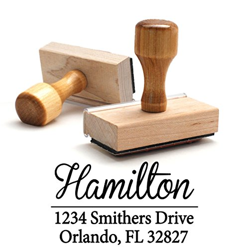 Return Address Stamp Family Last Name Surname Customizable Personalized Traditional Wood Wooden Handle Custom Self Inking Rubber Stamper | Envelope Stamp Custom Packaging by Pixie Perfect Stamps
