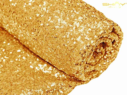 ShinyBeauty Gold Sequin Fabric Bolt (15 Feet 5 Yards) -