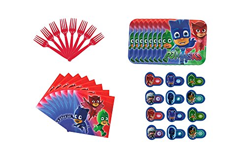 PJ Masks Party Cake Plates Bev Napkins Forks and Favor Set for 8 (Boy Cake Plates)