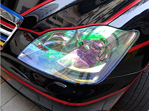 12 by 48 inches Self Adhesive Shiny Chameleon Headlights Tail Lights Fog Lights Films,Film Sheet Sticker,Tint Vinyl Film 12 X 48 Bright Red