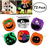 Unomor 72 PCS Halloween Treat Bags , Drawstring Halloween Candy Bags for Goody Kids Trick Treat Bags: more info
