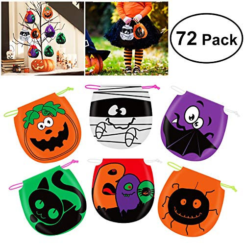 Halloween Treat Bags For Students (Unomor 72 PCS Halloween Treat Bags , Drawstring Halloween Candy Bags for Goody Kids Trick Treat)