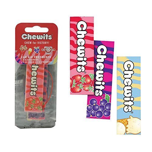 Chewits Sweets Hanging 2D Car Home Air Freshener, Freshener Scents *Pack of 3*