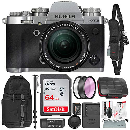 Fujifilm X-T3 4K Mirrorless Digital Camera (Silver) & 18-55mm Lens Kit with 64GB & Tripod/Monopod Deluxe Accessory Bundle