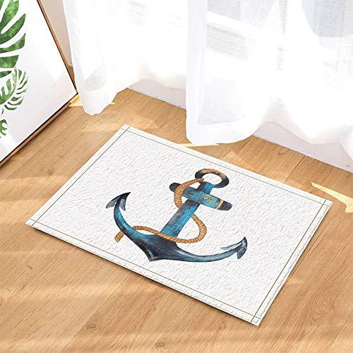 GoHeBe Nautical Retro Anchors Decor Cartoon Sailing Ship Anchor in White Bath Rugs Non-Slip Doormat Floor Entryways Indoor Front Door Mat Kids Bath Mat 15.7x23.6in Bathroom Accessories
