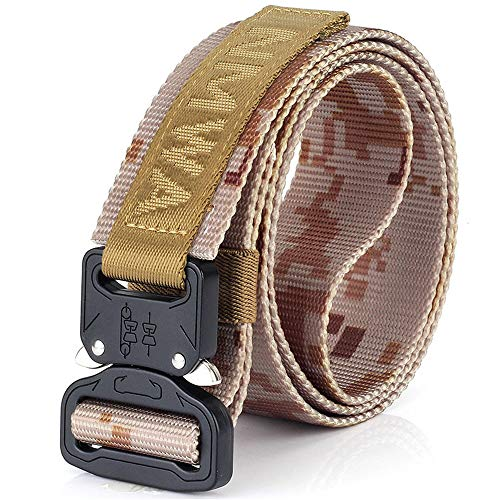 Camouflage Military Equipment Tactical Belt Men Swat Combat Knock Off Army Belt Nylon Heavy Duty Paintball Waist Belt(Desert Camo,125cm)