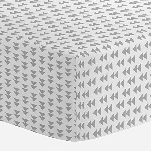(Carousel Designs Silver Gray Aztec Arrow Crib Sheet - Organic 100% Cotton Fitted Crib Sheet - Made in The USA)