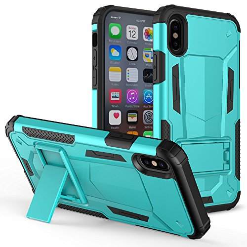 iPhone X Case - ZV [Hybrid Dual Layered] Case with [Built in Kickstand] Slim and Shockproof [UV Coated] Metallic PC
