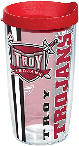 Tervis 1229748 Troy Trojans College Pride Tumbler with Wrap and Red Lid 16oz, Clear ()