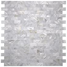 "Art3d Mother of Pearl Shell Mosaic Tile for Kitchen Backsplash / Shower Wall Tile, 12"" x 12"" Groutless Subway"