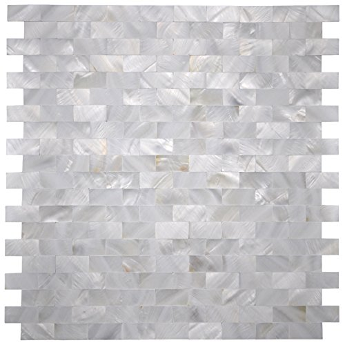 Art3d Mother of Pearl Shell Mosaic Tile for Kitchen Backsplash/Shower Wall Tile, 12 x 12 Groutless Subway