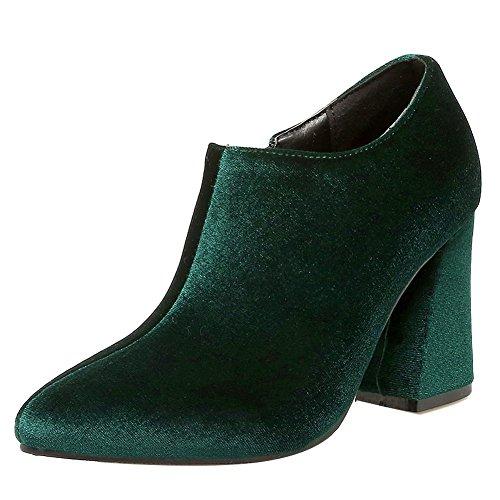 Mee Shoes Damen elegant Blockabsatz Reißverschluss ankle Boots Grün