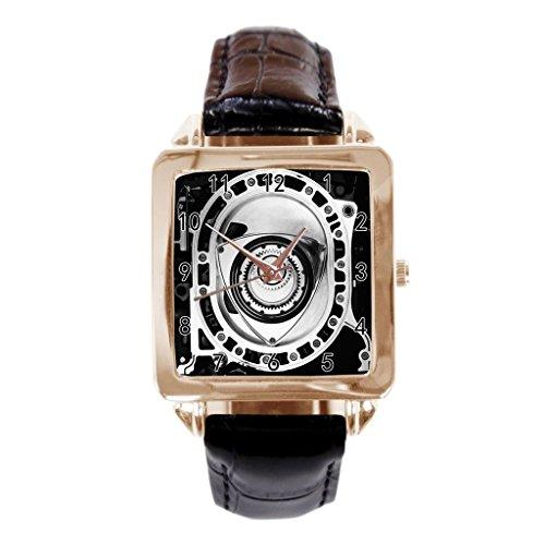 rotary engine Custom Design Simple Style Leather Strap Quartz Wrist Watch Mens Watches