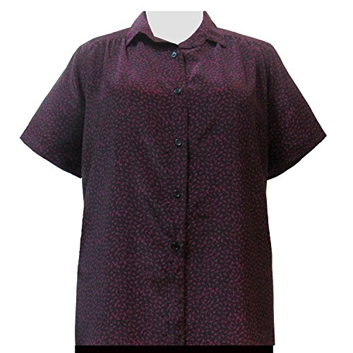 A Personal Touch Plum Leaves Women's Plus Size Blouse - 3X
