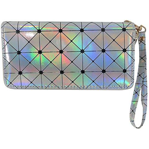 Women's Holographic Wristlet Wallet in Silver Geometric Hologram Print Alessa Beth (Silver)