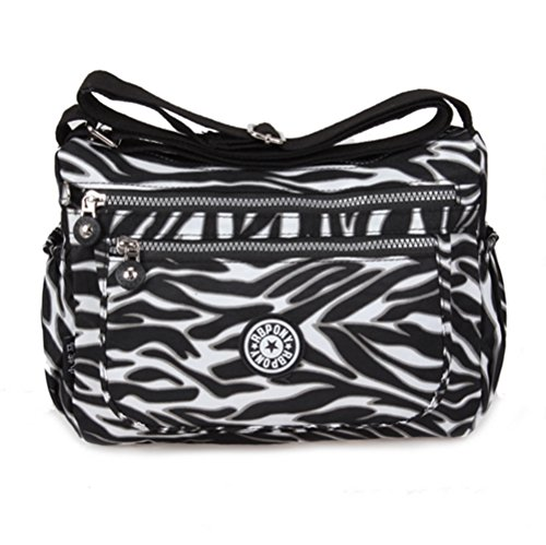 Yisidoo Damen Wasserdicht Nylon Maedchen Umhaengetasche Messenger Bags Schultertaschen(Zebra) Zebra
