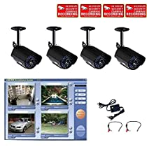 VideoSecu 4 Channel DVR USB 2.0 including 4 Video Infrared IR Day Night Security Cameras, 2 Pre-Amp Mini Hidden Microphones and 1 of 4 Channel Power Supply W48