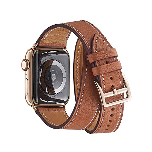 WFEAGL Compatible Watch Band 42mm 44mm, Top Grain Leather Double Tour Band with Gold Adapter (The Same as Series 4 with Gold Stainless Steel Case in Color) for Watch Series - Double Watch Strap Bracelet