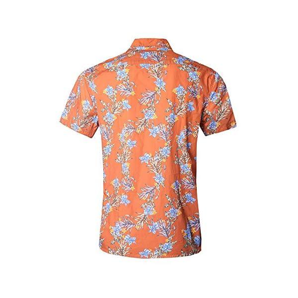 5572a128 NUTEXROL Hawaiian Shirts Mens Bamboo Print Beach Aloha Party Holiday ...