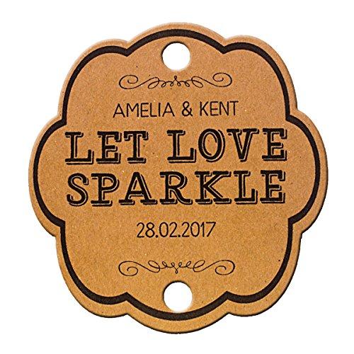 Summer-Ray 48 Personalized Kraft Vintage Shabby I Wedding Sparkler Tags Let Love Sparkle