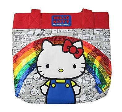 1b15476432 Amazon.com  Loungefly x Hello Kitty 40th Anniversary Rainbow Sequins Tote  Bag (One Size