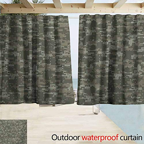 AndyTours Rod Pocket Top Blackout Curtains/Drapes,Camouflage Monochrome Attire Pattern Concealing Hiding in The Woods Themed Print,Room Darkening, Noise Reducing,W63x63L Inches,Army Green Sage Green