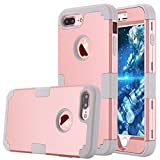 LONTECT Hybrid Heavy Duty Shock Proof Full-Body Protective Case with Dual Layer Hard PC and Soft Silicone Impact Protection for Apple iPhone 7 Plus - Rose Gold/Grey (Wireless Phone Accessory)