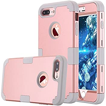 LONTECT Hybrid Heavy Duty Shock Proof Full-Body Protective Case with Dual Layer Hard PC and Soft Silicone Impact Protection for Apple iPhone 7 Plus - Rose Gold/Grey