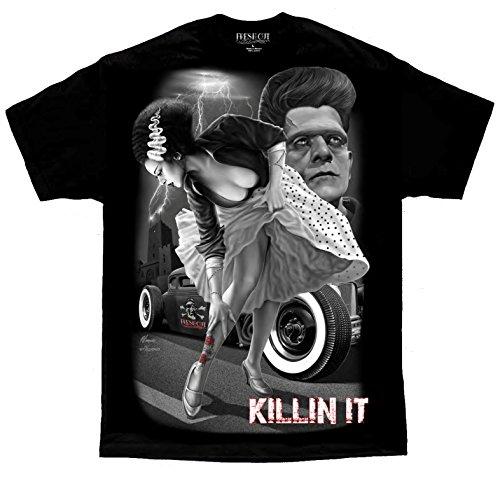 Bride of Frankenstein Rockabilly Pinup Tattoo David Gonzales DGA Art T Shirt Large Black ()