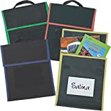Medium Book Pouches - Black With Primary Trim - Set Of 4