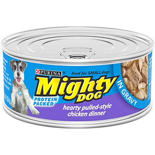 - Purina Mighty Dog Small Breed Gravy Wet Dog Food; Hearty Pulled-Style Chicken Dinner - 5.5 oz. Pull-Top Can