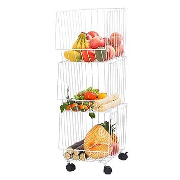 CFstc Carrito de Almacenamiento de Cocina de 3 Niveles con Ruedas Acero al Carbono Estante de Frutas y Verduras para baño Organizador multifunción Blanco: ...