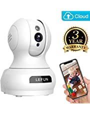 Lefun Wireless IP Security Camera Indoor Camera with Motion Detection Night Vision 2-Way Audio Pan/Tilt/Zoom Supports 2.4G Wi-Fi for Home Surveillance Baby/Elder/Pet Monitor (C-White)