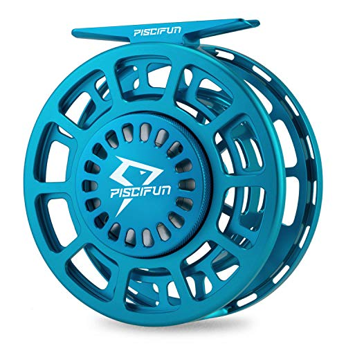 Piscifun Platte Fully Sealed Drag Large Arbor Fly Fishing Reel with CNC-machined Aluminum Alloy Body 5/6 Ice Blue