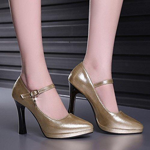 YE Damen Knöchelriemchen Pumps Stiletto High Heels Plateau mit Schnalle Elegant Schuhe Gold