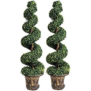 Amazon Com Goplus 4 Ft Artificial Boxwood Spiral Tree