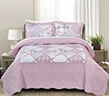 Blissful Living Luxury Ruffle Quilt Set Including Shams - Lightweight Soft All Seasons, Available in Twin, Full/Queen King Size (Twin, Delia Pink)